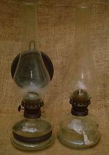 2 St PETROLEUMLAMPE ÖLLAMPEN GLAS FLACHBRENNER
