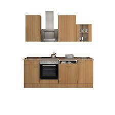 Küche mit Geschirrspüler Küchenzeile Elektrogeräte Einbauküche 220 cm buche