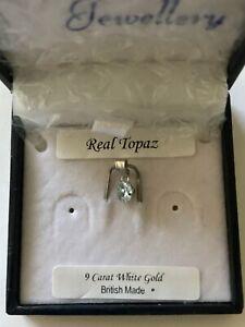 9ct White Gold Topaz Pendant Charm