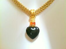 JOAN RIVERS ~  SIGNED BLACK ONYX & CITRINE CRYSTAL SLIDE PENDANT CHAIN NECKLACE
