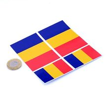 "Romania Flag Stickers x4 3"" & 2"" Car Vinyl Rally Racing Window Decals"