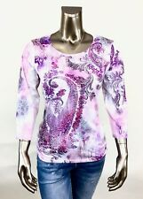 CHICO'S SIZE 2(L) PURPLE PAISLEY 3/4 SLV RUCHED SIDE TOP NEW