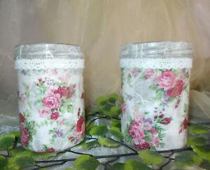 2 Glas Dekowindlichter Tischlichter Rose Rosen Shabby chic Look Geschenkidee