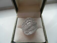 Q164 Ladies 9ct white gold 2 carats Diamond cluster dress ring size R