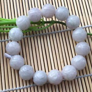 Certified Natural A Grade Jade13mm /Jadeite Carving Beads Men&Women Bracelet
