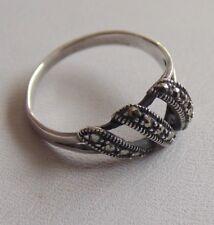 Wonderful Unusually Styled Modern Sterling Silver & Marcasite Ring Sz O