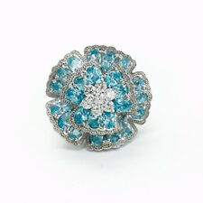 ESTATE PAVE AQUA BLUE CLEAR WHITE CUBIC ZIRCONIA FLOWER NAGA STERLING RING