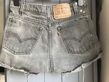 Levis Vintage 505 Orange Tab Dark Grey Black High Waist Cut Short Size 8