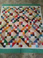 Handmade Patchwork Quilt Top 56x48 Handmade Quilt Top Stunning Colors WOW