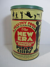 New Era Potato Chip Can Tin Vintage 1950 Advertising Athletic Chicago Can