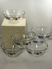 6 Avon Wild Violets Collection Crystal Bowls Flower Made in France
