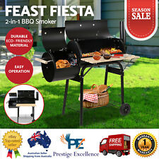 Offset Charcoal BBQ Smoker Meat Grill Box Wood Fired Smoked Oven Food Steel 2IN1