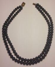 Glass Double Necklace Vintage Jet Black