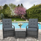 Rattan Patio Furniture Set Grey Bistro Chair Cushion Coffee Table Garden Outdoor