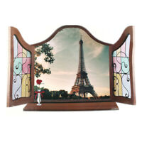 Home Art Decor 3D Effect False Window Eiffel Tower Pattern Wall Sticker Decal