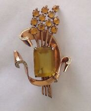 1940's LARGE Set Brooch Coro Craft STERLING Amber Stone & Earrings A. Katz
