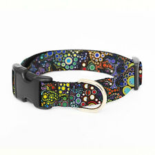 Adjustable Dog Collar Fabric Strap Various Sizes Webbing - colorful dots fabric