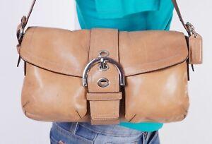 COACH SOHO Small Med Tan Leather Shoulder Hobo Tote Satchel Purse Bag