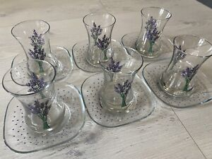 Tea set For 6 - Traditional Turkish Tea Glasses and Saucers - Lavender Print