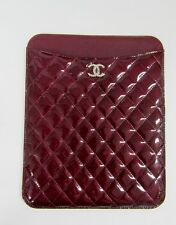 NWT CHANEL QUILTED TABLET IPAD CASE BRILLIANT CC PATENT RARE LIGHT BURGUNDY