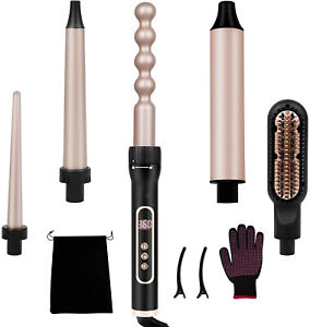 5 in 1 Curling Iron, Curling Wand Set with Hair Straightener Brush, Instant Heat