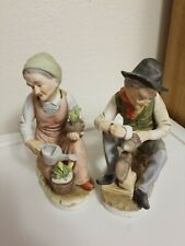 Homco Home Interiors #1223 Old Woman & #1223 Old Man Figurines Vintage Perfect!