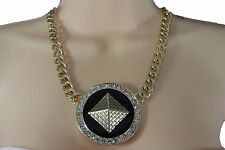 NEW WOMEN GOLD METAL MULTI CHAINS LONG FASHION NECKLACE SILVER RHINESTONES 13""