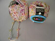 2 Stacy Charles Tahki FLOWER Ribbon Yarn Glitter Pink Gold #16 Butterfly