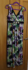 Ronni Nicole 'O So Slim' QVC green purple black empire line maxi dress 10-12