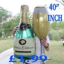 Champagne Glass and Bottle Foil Balloon Large Helium Wedding Birthday baloons 40