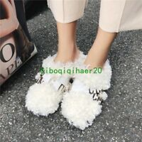 Stylish Womens Mules Faux Sheep Fur Shoes Ankel Booys Winter Metal Decor Shoes