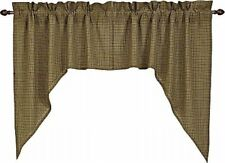 """Tea Cabin Country Grass Green Plaid Cotton Window Swag Set Cotton Lined 72"""" Wide"""