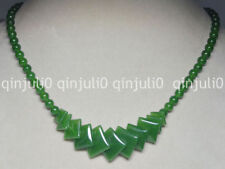 """Natural 6-20mm green emerald gemstone Round & Square Beads Necklaces 18"""" JN724"""