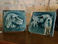 Antique Encaustic Tile Co Irish Setter Fireplace Tile Pair ca 1880