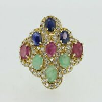 9ct Gold Ring - 9ct Gold Emerald, Ruby, Sapphire & Diamond Shield Ring Size M1/2