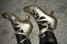 vtg 80s Peter Fox gold lace up shoes Victorian ghillies 6 Italy leather princess