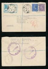 CANADA ARMY GB REGISTERED 1943 FIELD POST OFFICE SO4 + ETIQUETTE FPO 248