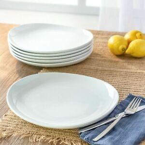Set of 4 NEW Better Homes Gardens Porcelain Monroe Oval Dinner Plates White