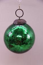 Vintage Kugel Heavy Crackle Mercury Glass Green Christmas Ornament Ball Orb