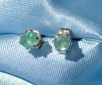 HANDCRAFTED 3.0 - 3.5MM  ROUND NATURAL EMERALD STUD  EARRINGS IN STERLING SILVER