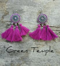 NEW!! LIGHT TRIBAL MIRROR MANDALA PURPLE BOHO  FRINGE TASSLE TASSEL EARRINGS