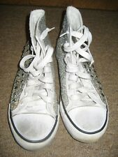 e9716dee70bc CONVERSE STYLE HIGH TOP TRAINERS. SILVER SPARKLE   WHITE. UK Size 6   39