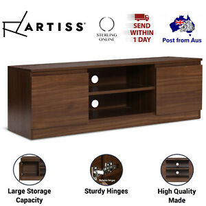 Wooden TV Entertainment Unit Storage Cabinet Timber Stand Table Shelf Walnut New