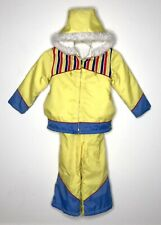 Vtg JCPenney Snowmobile Snow Suit Insulated Warm Coveralls Kid's 5 USA Yellow Y