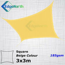 Heavy Duty Square Shade Sail Outdoor Sun Cloth Canopy Awning Sand Beige 3x3m