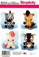 Simplicity Sewing Pattern 8034 Stuffed Animals Unicorn Horse Giraffe Zebra