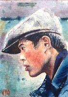 ACEO Original Watercolor Portrait Painting Fine Art Card  /Market vendor, China