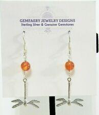 Sterling Silver DRAGONFLY w/ CARNELIAN Gemstone Dangle Earrings...Handmade USA