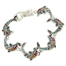 Dolphin Fashionable Bracelet - Mosaic Design - Magnetic Clasp - Silver Plated