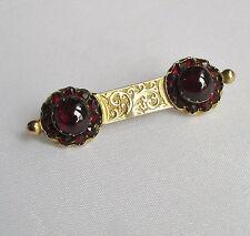 Old antique Victorian 9ct gold garnet gemstone brooch